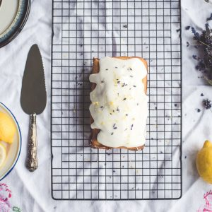 Lemon Poundcake with Vanilla Lilac Frosting