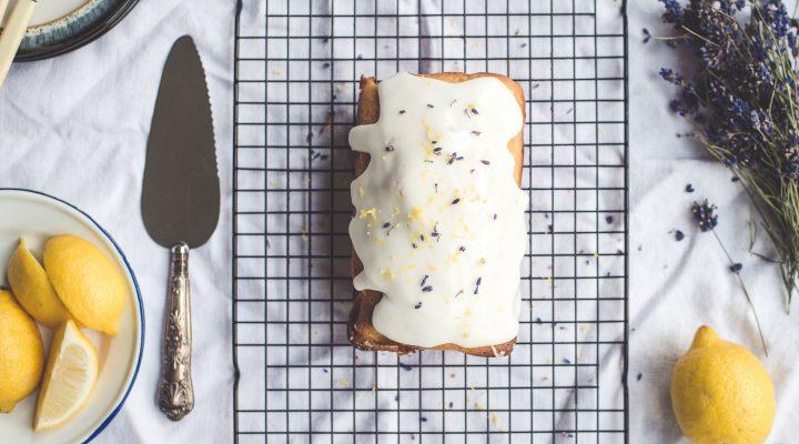 Lemon Poundcake with Vanilla Lilac Frosting